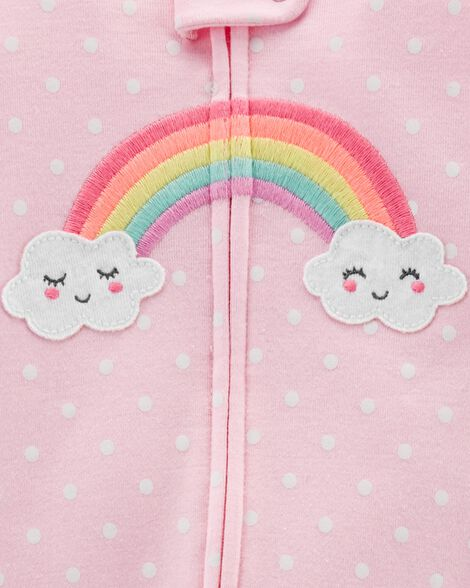 1-Piece Rainbow Snug Fit Cotton Footie PJs