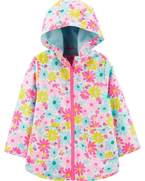 Fleece-Lined Flower Print Rain Jacket