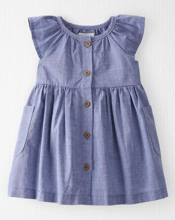 Organic Cotton Dobby Ruffle Dress