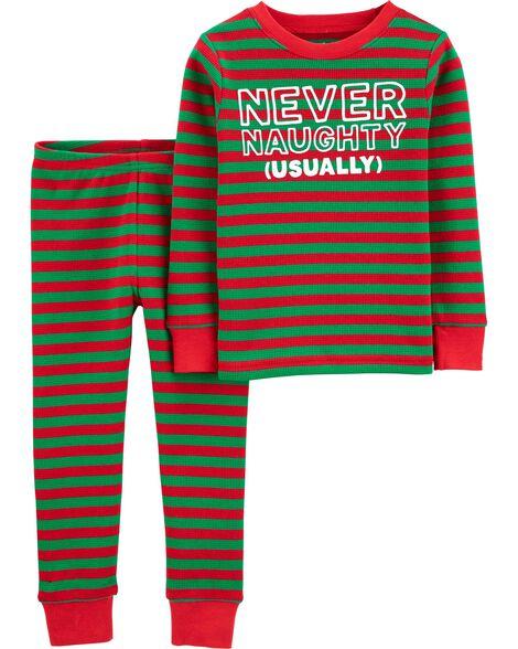 2-Piece Christmas Snug Fit Thermal PJs
