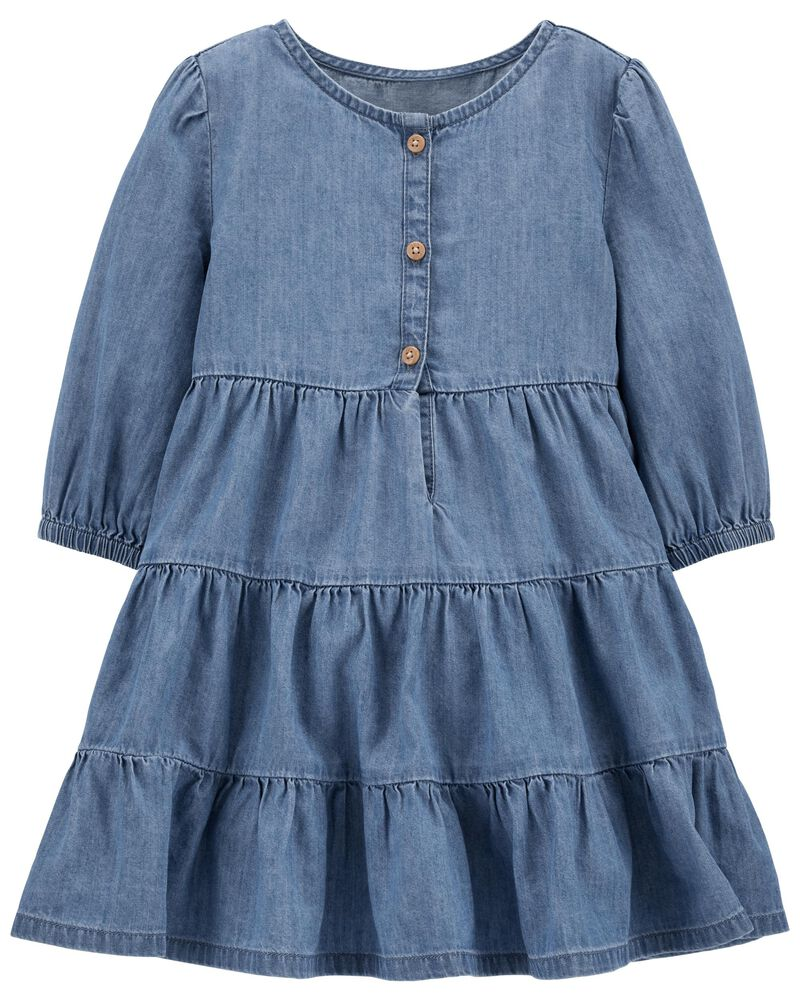 Ruffle Denim Dress, , hi-res
