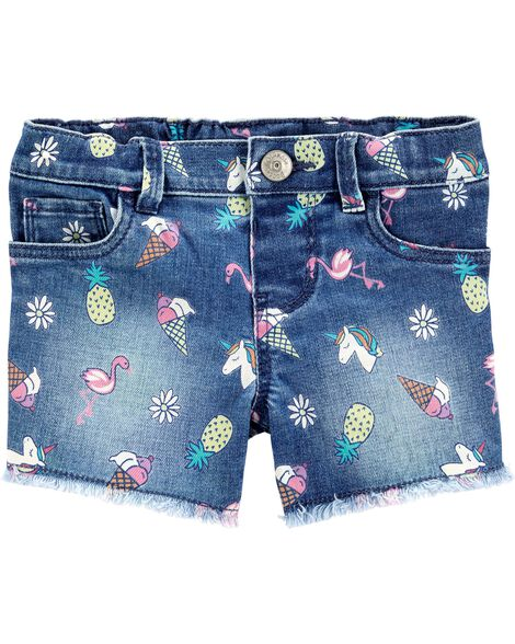 Short en denim extensible à dessins