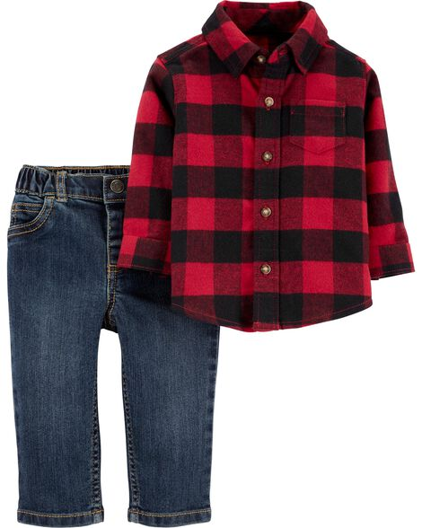 2-Piece Buffalo Check Button-Front Top & Denim Pant Set