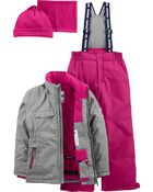 2-Piece Fleece-Lined Snowsuit With Bonus Hat & Neck Warmer, , hi-res