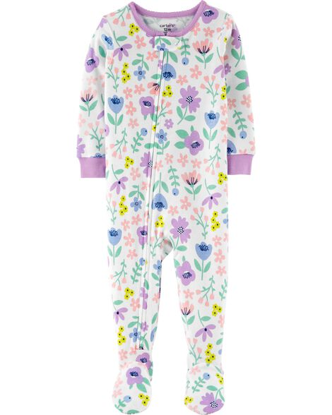 1-Piece Floral Snug Fit Cotton Footie PJs