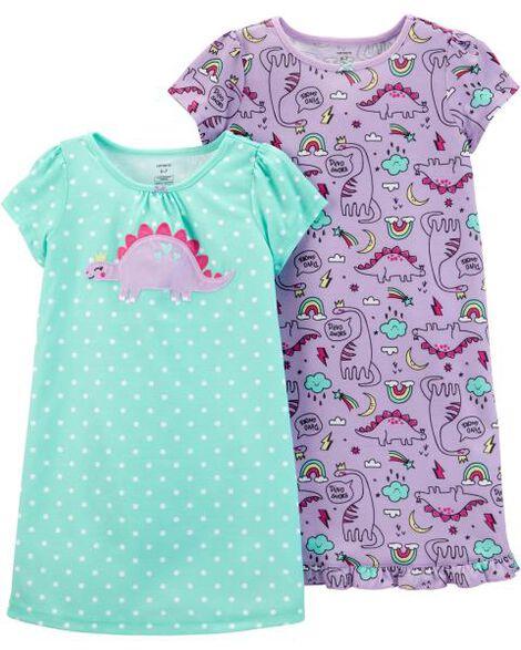 2-Pack Dinosaur Nightgowns