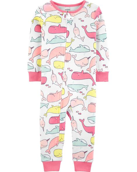 1-Piece Whale Snug Fit Cotton Footless PJs