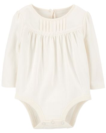 Lace Trim Pleated Bodysuit