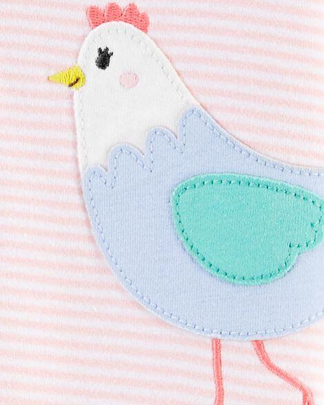 Pyjama 1 pièce sans pieds en coton ajusté à motif de poulet