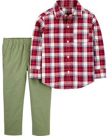 2-Piece Gingham Button-Front & Pant...