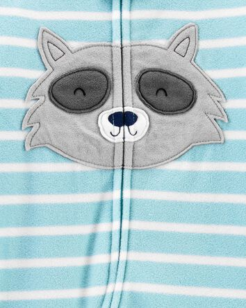 1-Piece Raccoon Fleece Footie PJs