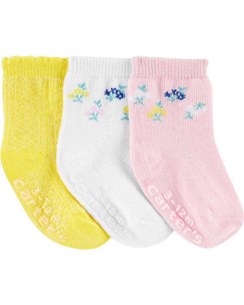 Emballage de 3 paires de chaussettes fleuries, , hi-res