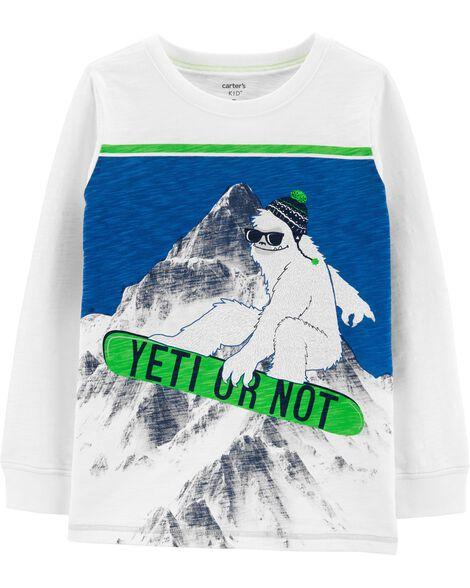 T-shirt en jersey flammé Yeti or Not