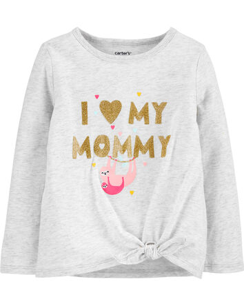 Glitter Mommy Sloth Tie-Front Jerse...