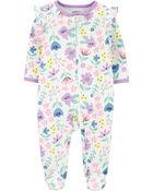 Floral 2-Way Zip Cotton Sleep & Play, , hi-res