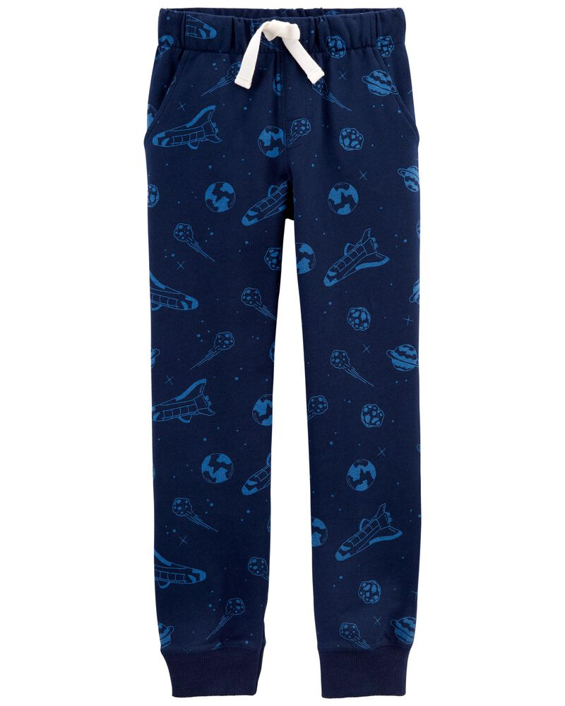 Pantalon de jogging en jersey bouclette motif espace, , hi-res