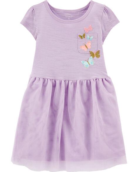 Butterfly Pocket Tutu Jersey Dress