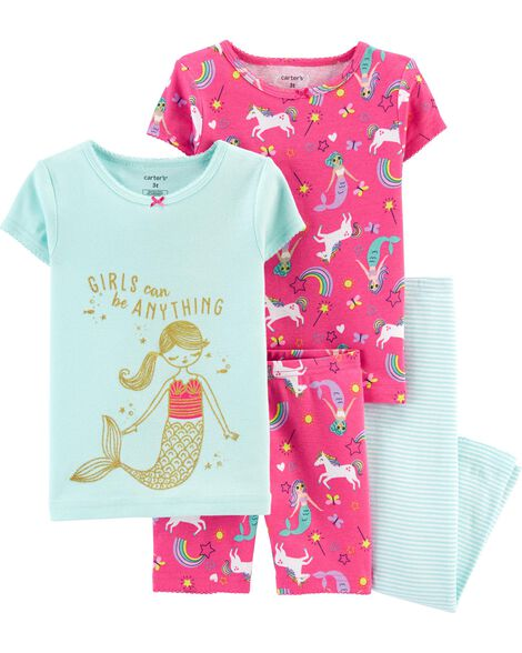 4-Piece Mermaid Snug Fit Cotton PJs