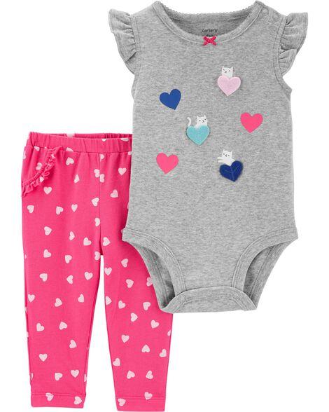 Ensemble 2 pièces cache-couche cœur et pantalon
