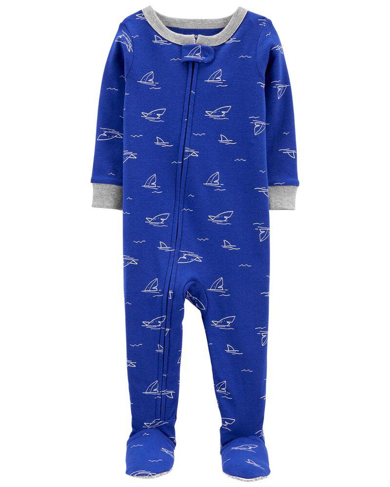 Pyjama 1 pièce à pieds en coton ajusté requin, , hi-res