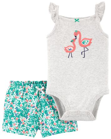 2-Piece Flamingo Bodysuit & Short S...