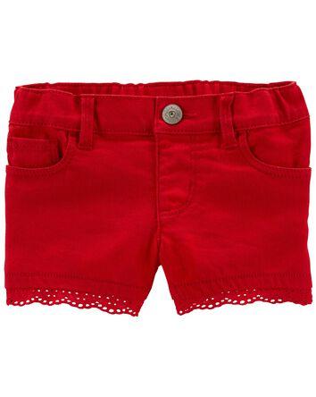 Eyelet Trim Stretch Shorts
