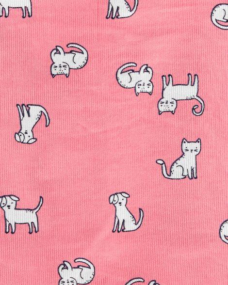 Ensemble 3 pièces t-shirt à pois et robe chasuble à chat
