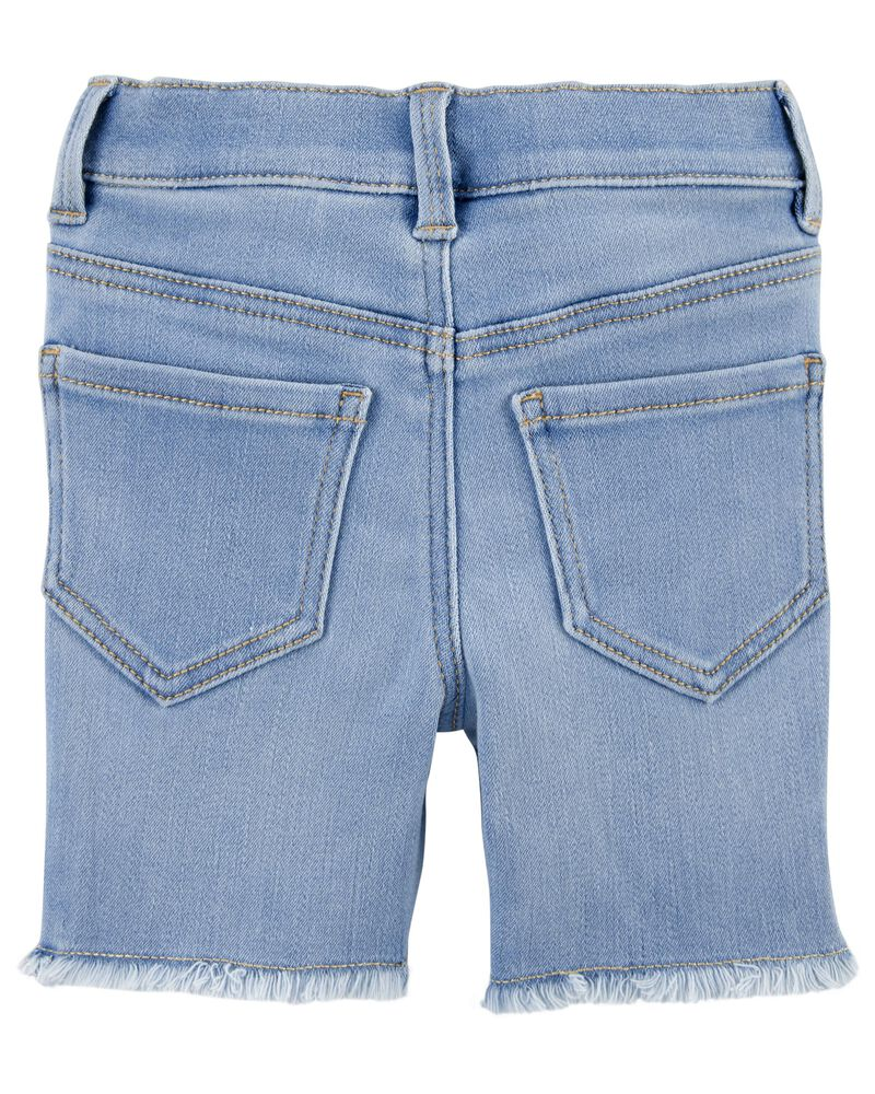 Short en denim extensible à bordure à œillets, , hi-res