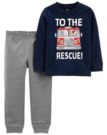2-Piece Firetruck Jersey Tee & Pant...
