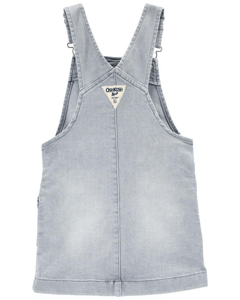 Robe chasuble en tricot de denim à boutons-pression, , hi-res