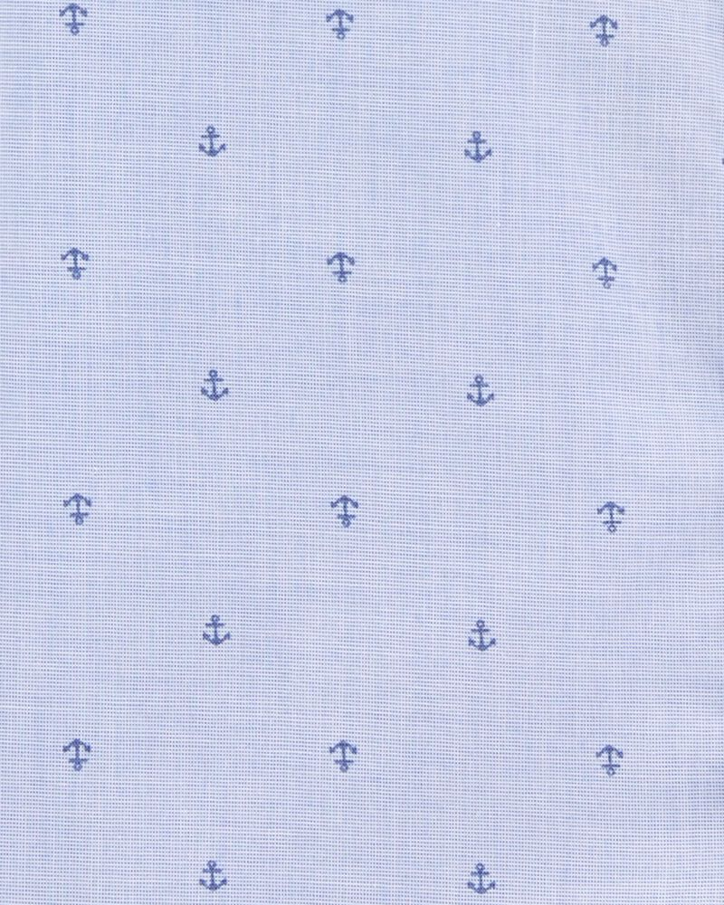 Anchor Print Button-Front Shirt, , hi-res