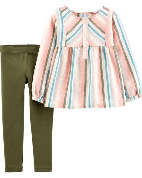 2-Piece Striped Linen Top & Legging Set