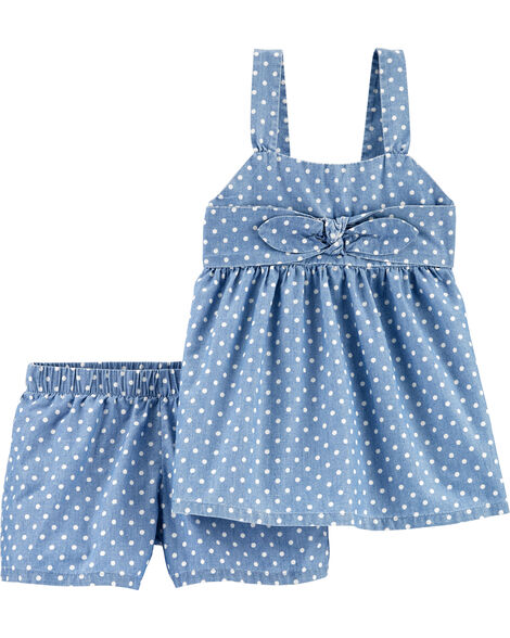 2-Piece Polka Dot Chambray Tank & Short Set