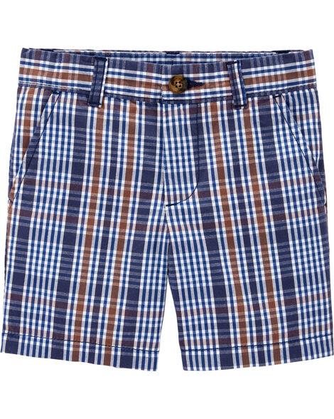 Plaid Poplin Shorts