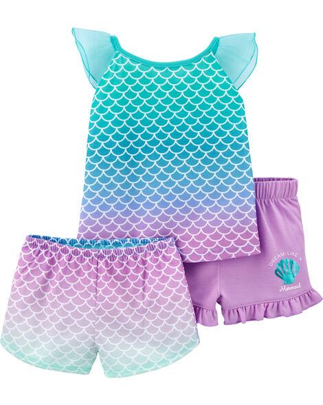 Pyjama 3 pièces en polyester à motif de sirène