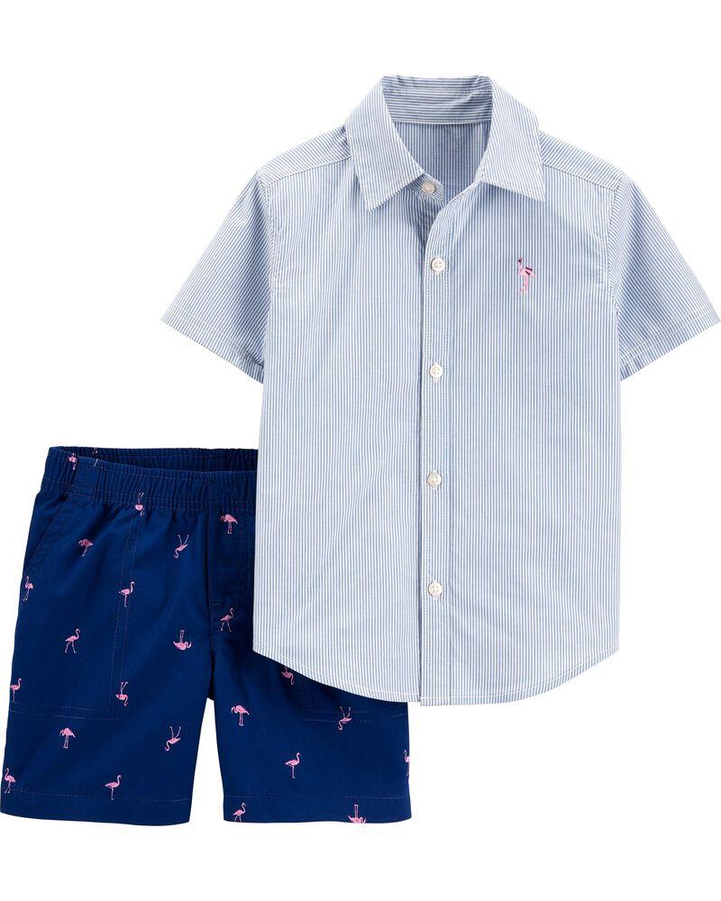 Ensemble 2 pièces chemise boutonnée rayée et short flamant , , hi-res