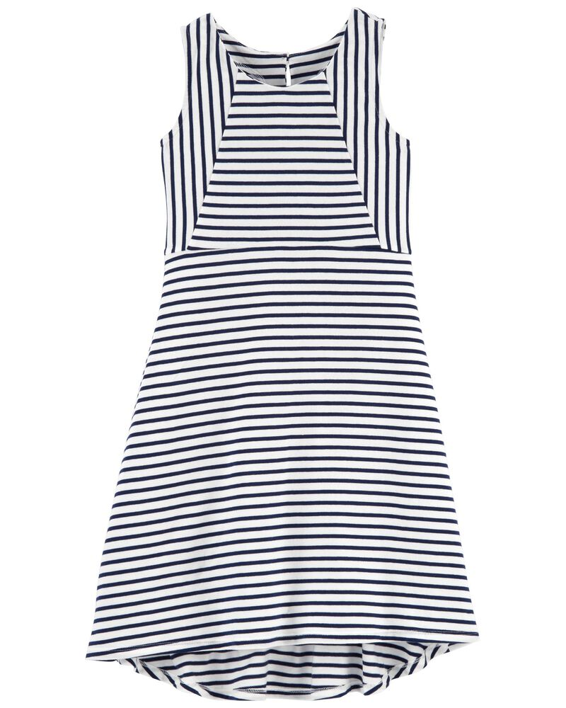 Striped Hi-Lo Dress, , hi-res