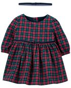 Plaid Holiday Dress, , hi-res