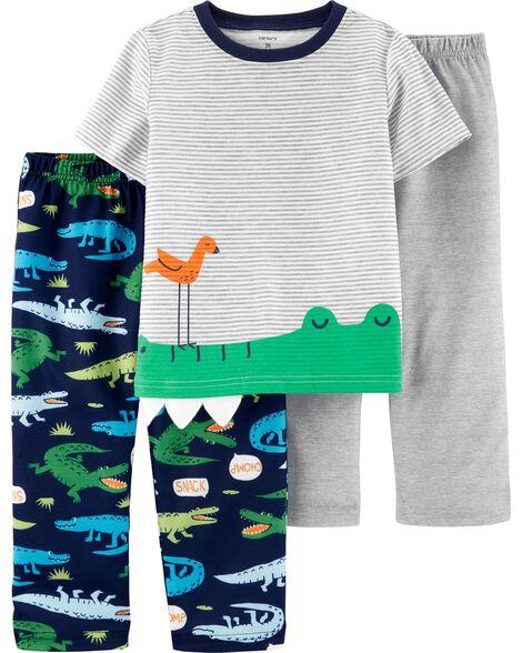 Pyjama 3 pièces en polyester à motif d'alligator