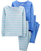 4-Piece Stars Snug Fit Cotton PJs, , hi-res