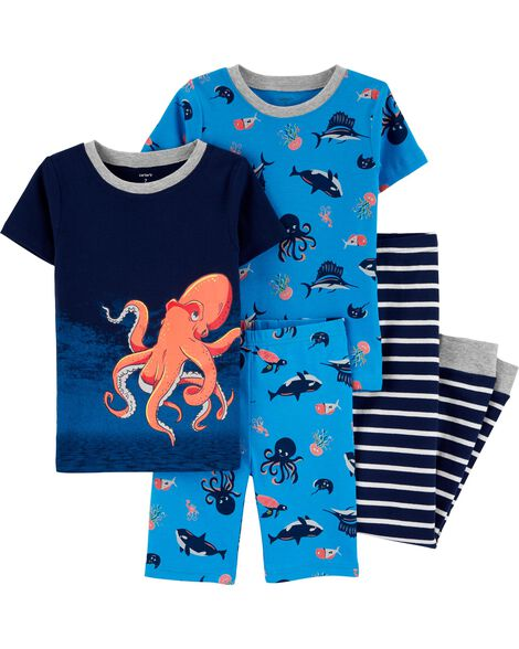 4-Piece Octopus Snug Fit Cotton PJs