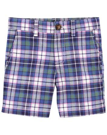 Short sans plis à motif écossais