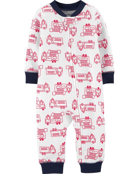 1-Piece Firetruck Snug Fit Cotton Footless PJs