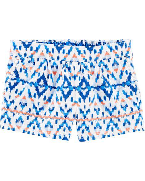 Short à enfiler à imprimé ikat et poches avec bordure à pompons