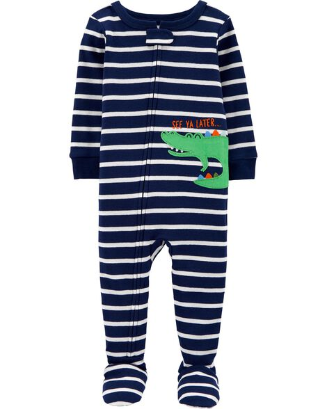 1-Piece Alligator Snug Fit Cotton Footie PJs