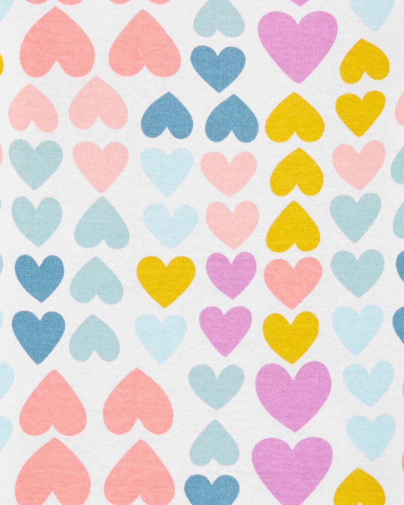 Pyjama 4 pièces en coton ajusté motif cœur, , hi-res