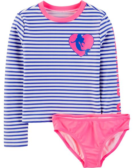 Mermaid Stripe Rashguard Set
