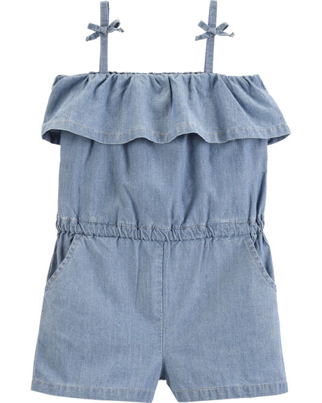 Barboteuse sans manches en chambray
