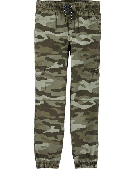 Pantalon de jogging à enfiler en popeline camouflage