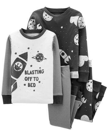 4-Piece Space 100% Snug Fit Cotton...